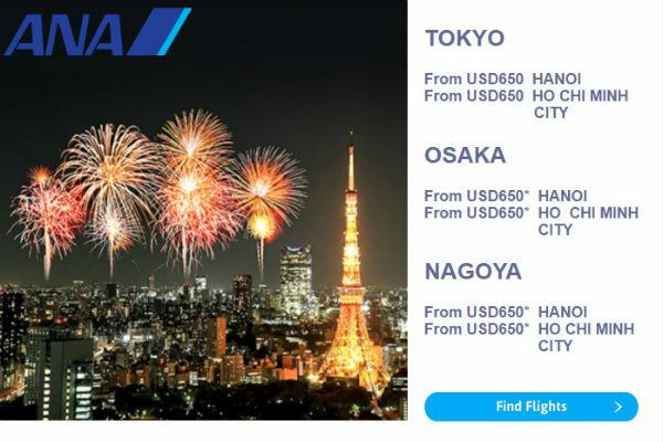 All Nippon Airways khuyến mại từ Hà Nội/ Sài Gòn đến Nhật Bản và Bắc Mỹ giá chỉ từ 528 USD