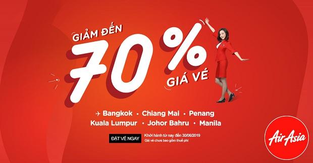 Giảm 70% giá vé du lịch Đông Nam Á cùng AirAsia