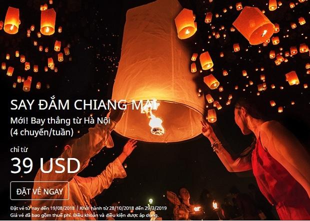 Bay thẳng đến Chiang Mai với giá vé chỉ từ 39 USD