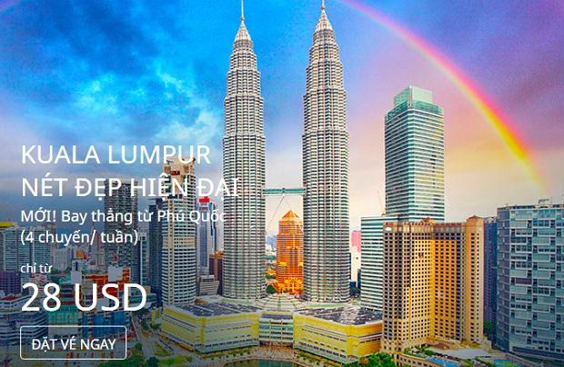 Bay thẳng từ Phú Quốc đến Kuala Lumpur chỉ từ 28 USD