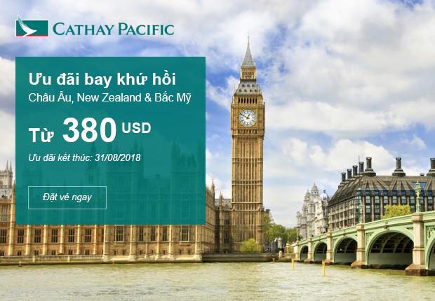 Bay Châu Âu và New Zealand với giá vé chỉ từ 380 USD