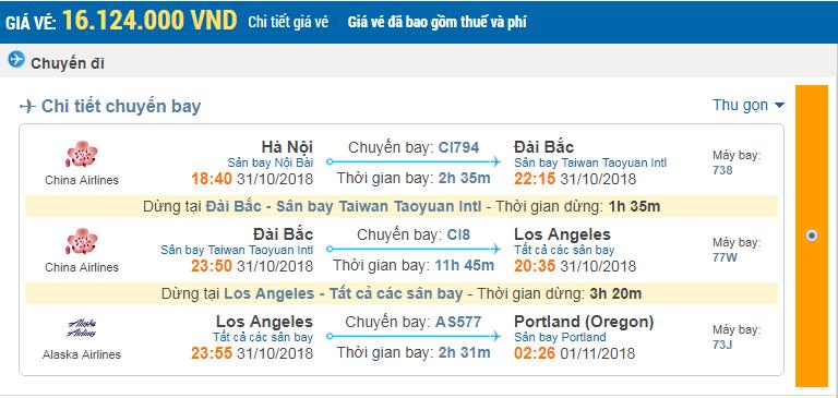 Giá vé 1 chiều hãng China Airlines