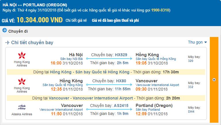 Giá vé 1 chiều hãng Hong Kong Airlines