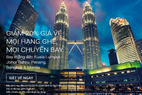 AirAsia : giảm giá ngay 20% giá vé trên mọi chuyến bay, mọi hạng ghế