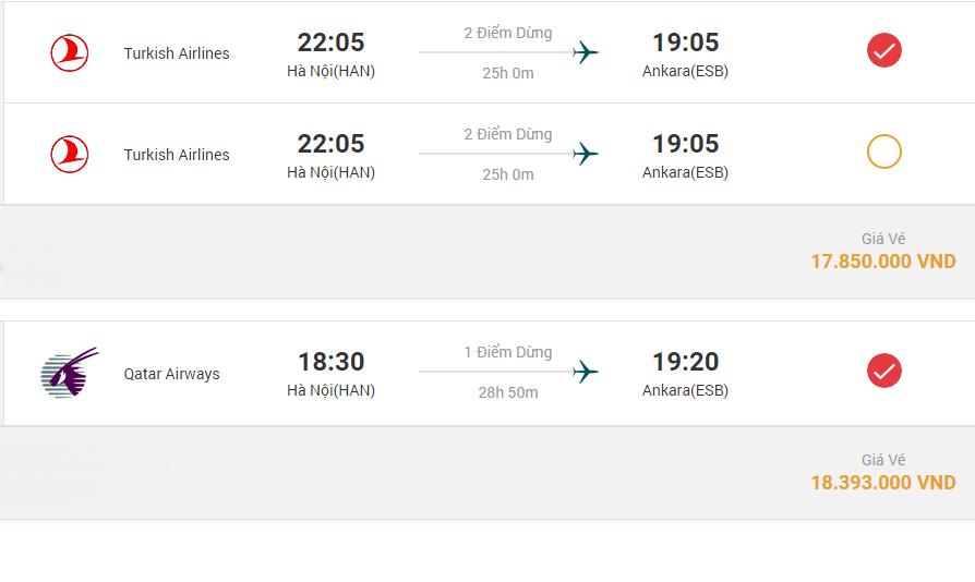 Đường bay Hà Nội - Thổ Nhĩ Kỳ