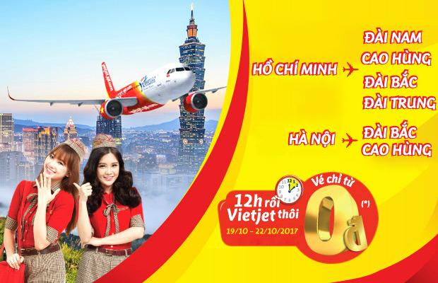 Săn vé 0 đồng bay Đài Loan cùng Vietjet Air