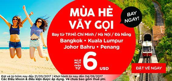 Hưởng ứng mùa hè vẫy gọi cùng Air Asia với giá vé chỉ từ 6 USD