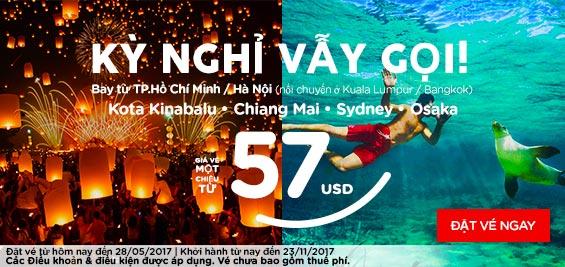 Cùng Air Asia săn vé đi quốc tế giá chỉ từ 57 USD