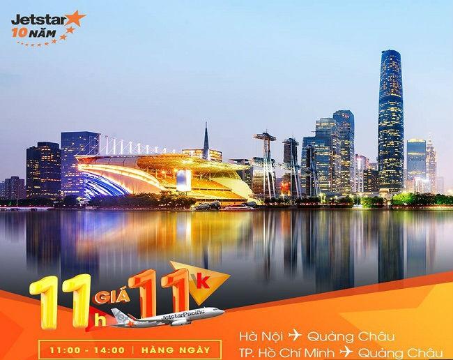 Jetstar Pacific khuyến mại bay từ Hà Nội/ Sài Gòn đến Quảng châu giá chỉ từ 11.000 VNĐ