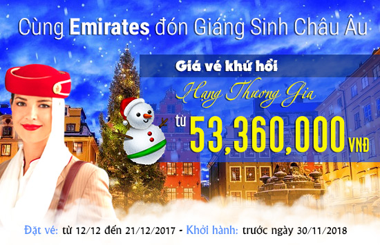 Emirates mừng giáng sinh với ưu đãi vé khứ hồi đi Châu Âu